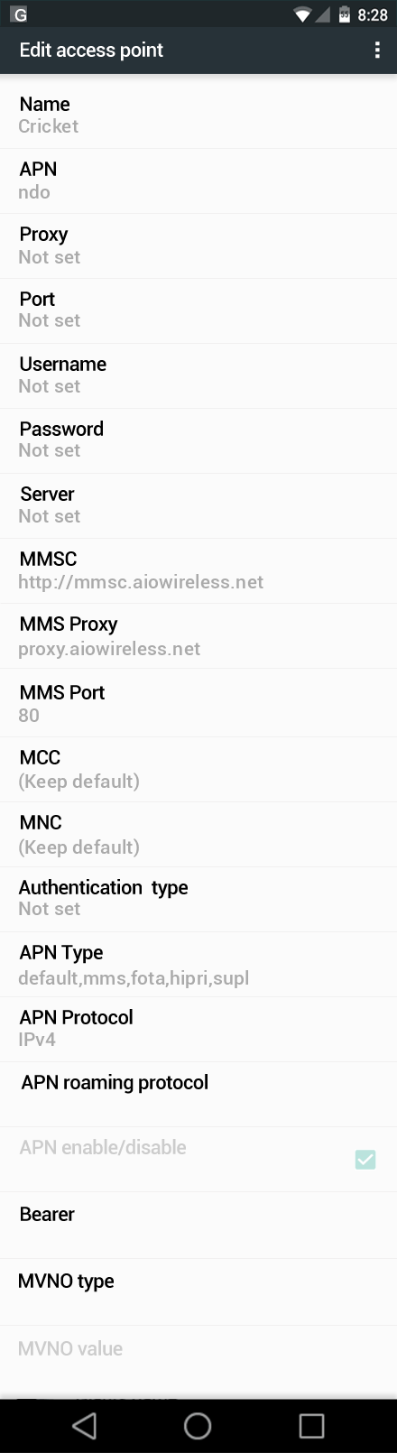 Cricket Samsung Galaxy S7 Internet and MMS APN Settings ...