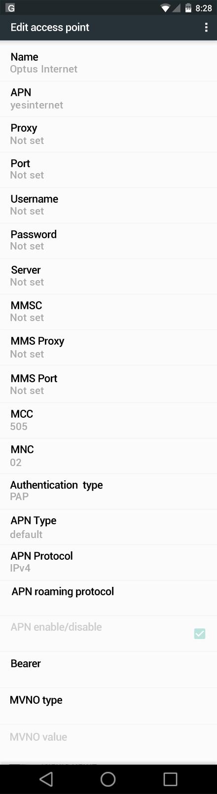 Optus Internet APN settings for Android Marshmallow screenshot
