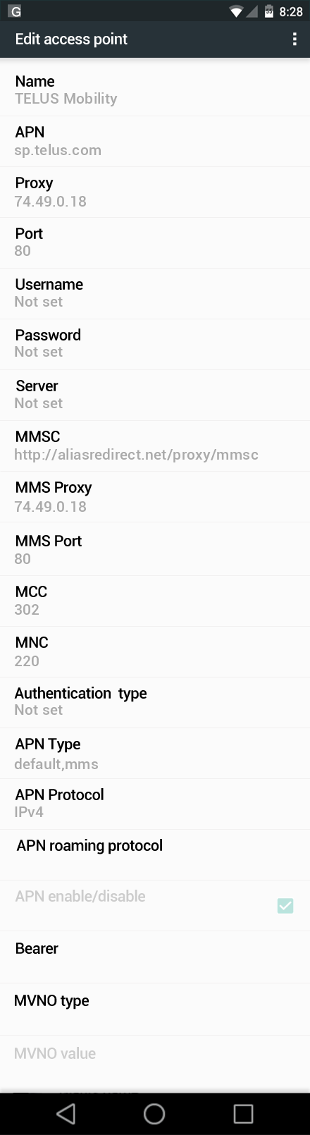 TELUS Mobility  APN settings for Android Marshmallow screenshot