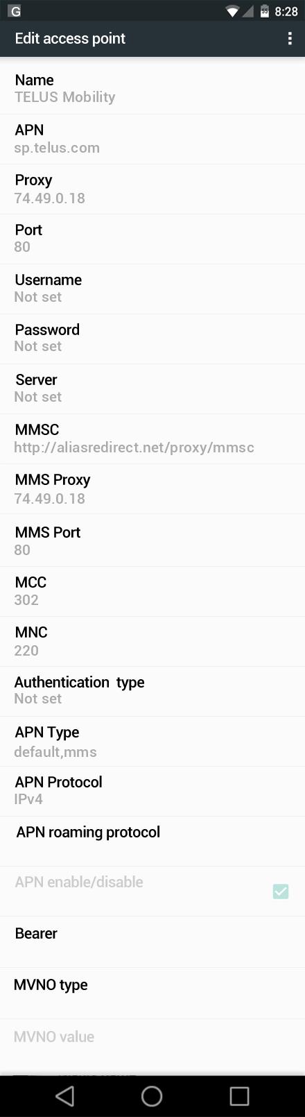 TELUS Mobility  APN settings for Android Marshmallow screenshot