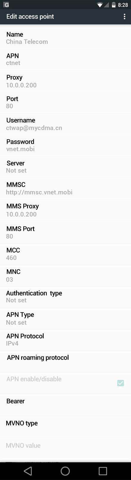 ĸ�国电信 ō�为 Nexus 6p ĺ�联网和 Mms Apn设置为 ĸ�国 Apn Ȯ�置中国