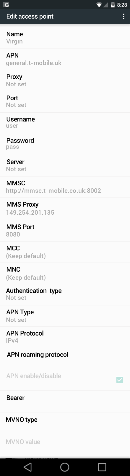 Virgin  APN settings for Android Nougat screenshot