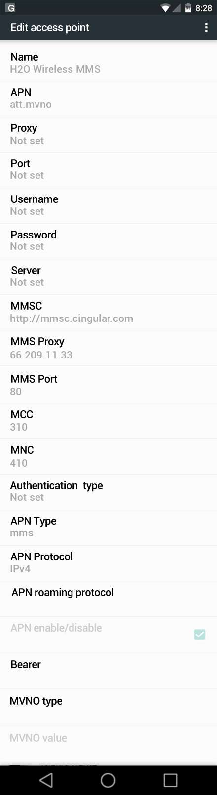 H2O Wireless MMS APN settings for Android Marshmallow screenshot
