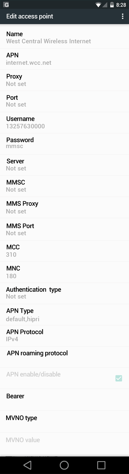 West Central Wireless Internet APN settings for Android Marshmallow screenshot