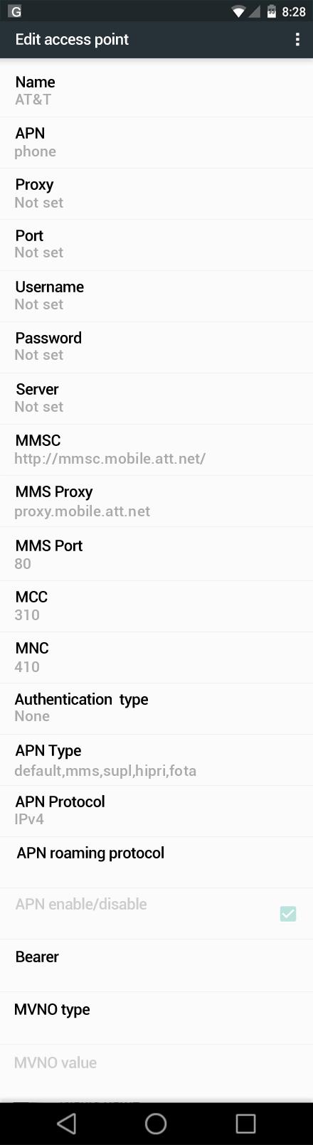AT&T  APN settings for Android Nougat screenshot