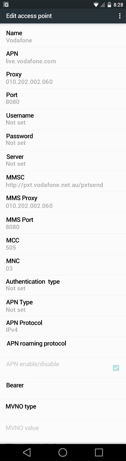 Vodafone  APN settings for Android Marshmallow screenshot