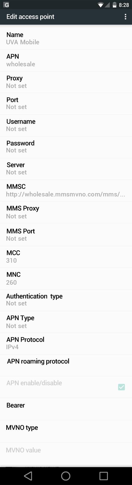 UVA Mobile  APN settings for Android Marshmallow screenshot