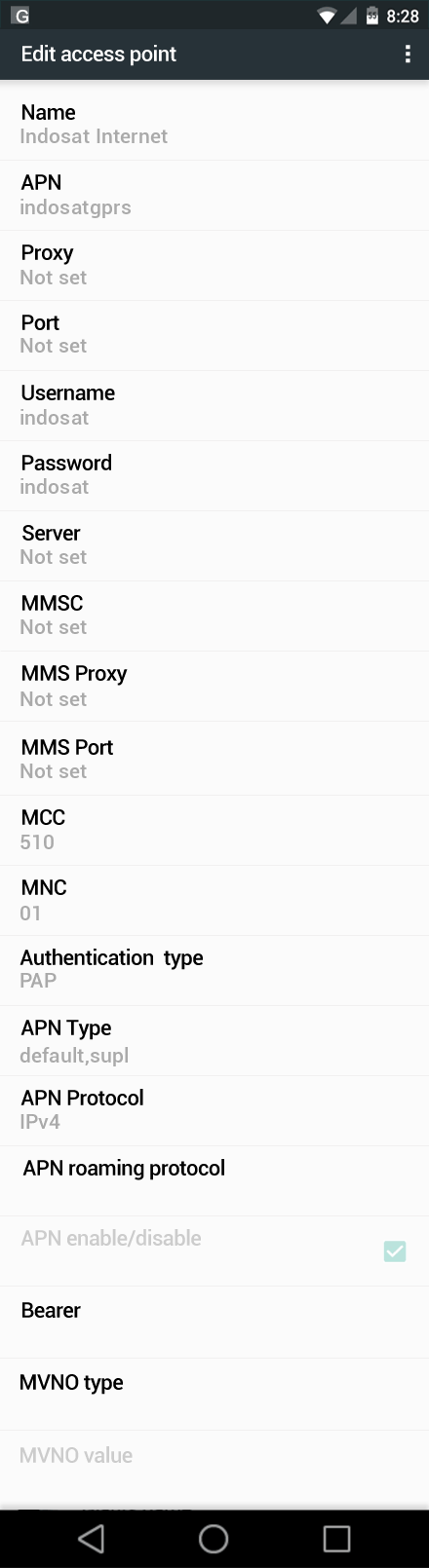Indosat Internet APN settings for Android Marshmallow screenshot