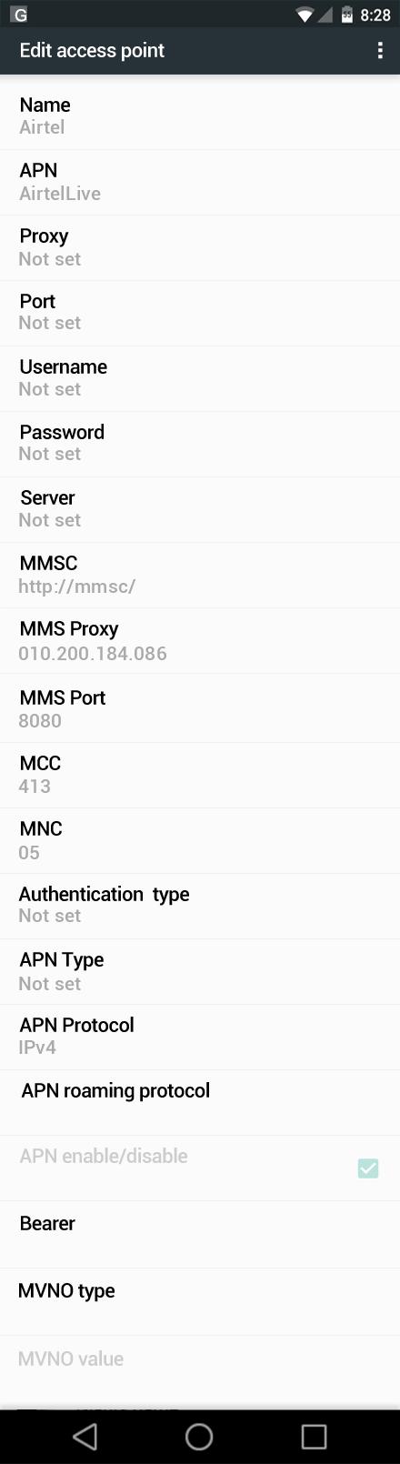 Airtel  APN settings for Android Nougat screenshot