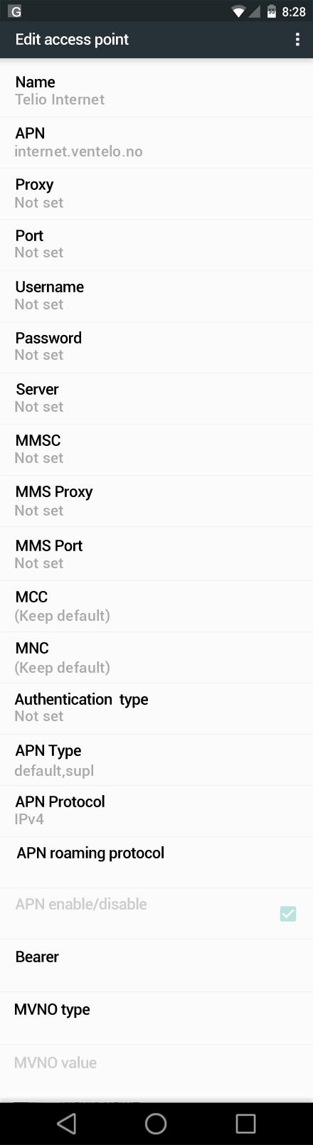 Telio Internet APN settings for Android Nougat screenshot