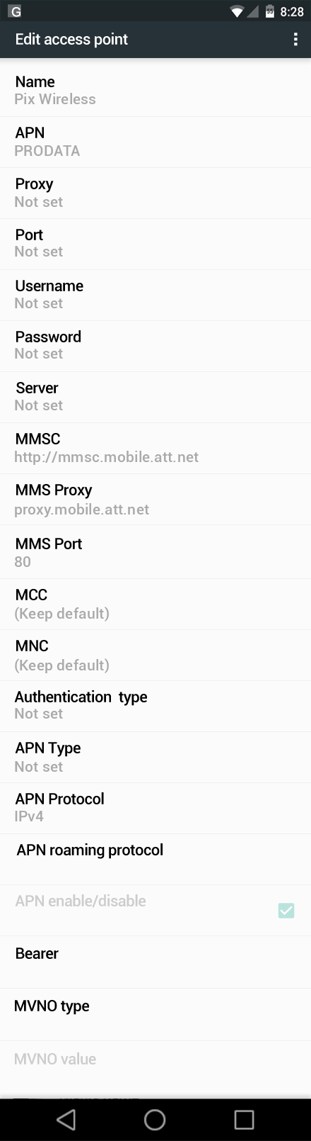 Pix Wireless  APN settings for Android Marshmallow screenshot