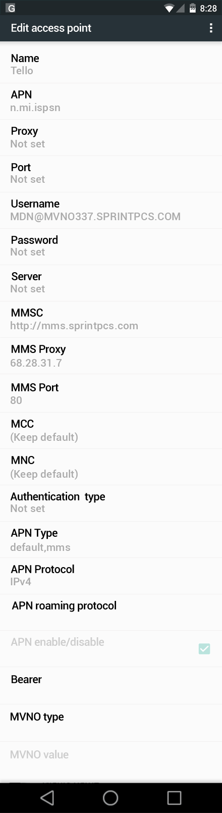Tello  APN settings for Android Marshmallow screenshot