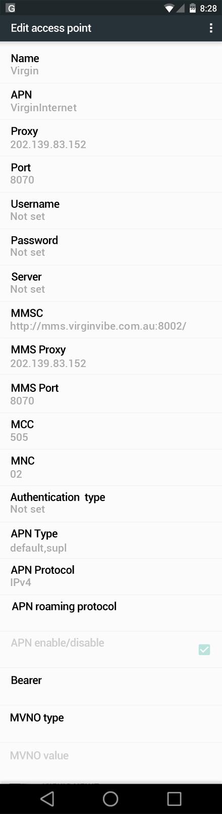 Virgin  APN settings for Android Marshmallow screenshot