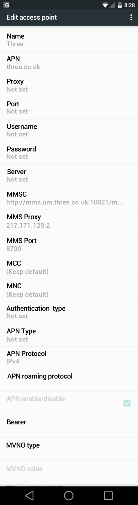Three  APN settings for Android Marshmallow screenshot