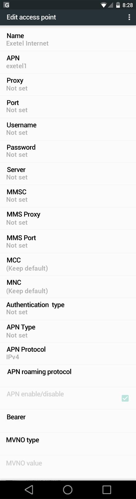Exetel Internet APN settings for Android Marshmallow screenshot