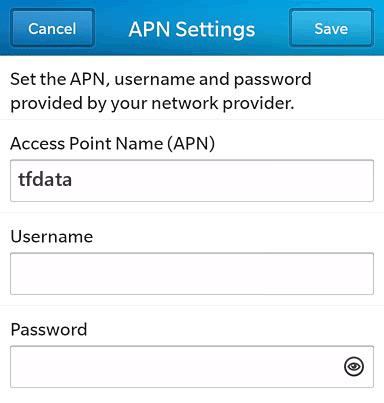 Straight Talk  APN settings for BlackBerry 10 screenshot