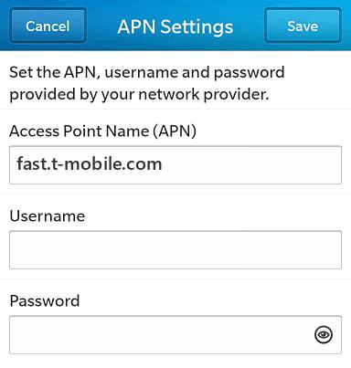 T-Mobile  APN settings for BlackBerry 10 screenshot
