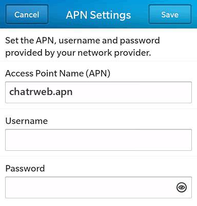 Chatr  APN settings for BlackBerry 10 screenshot