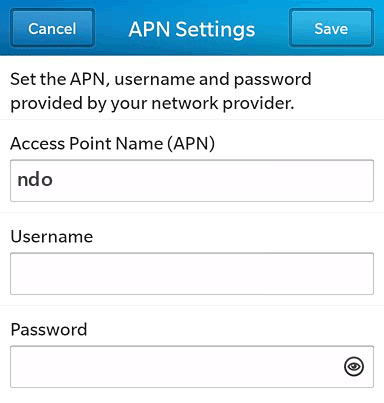 Cricket  APN settings for BlackBerry 10 screenshot