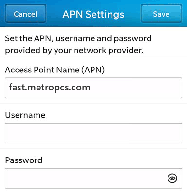 MetroPCS  APN settings for BlackBerry 10 screenshot