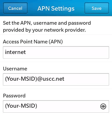 US Cellular  APN settings for BlackBerry 10 screenshot