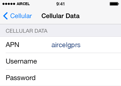 Aircel Internet APN settings for iOS8 screenshot