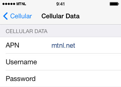 MTNL Internet APN settings for iOS8 screenshot