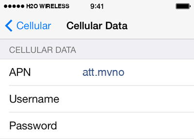 H2O Wireless Internet APN settings for iOS8 screenshot