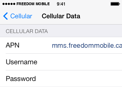 Freedom Mobile  APN settings for iOS9 screenshot
