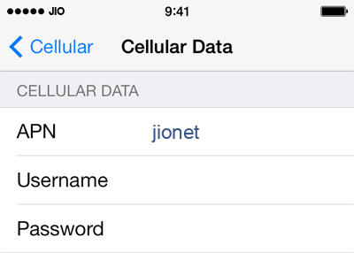 Jio Internet APN settings for iPhone 5S screenshot
