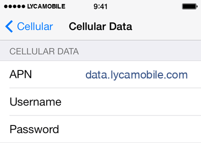 LycaMobile  APN settings for iOS8 screenshot