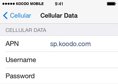 Koodo Mobile  APN settings for iOS9 screenshot