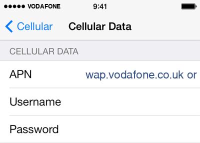 Vodafone  APN settings for iOS8 screenshot