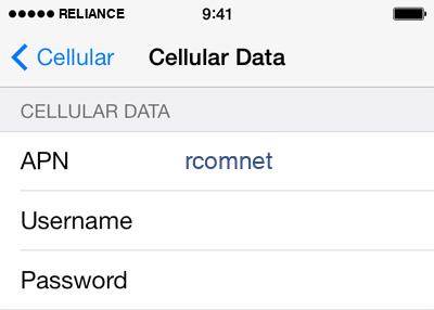 Reliance Internet APN settings for iOS8 screenshot