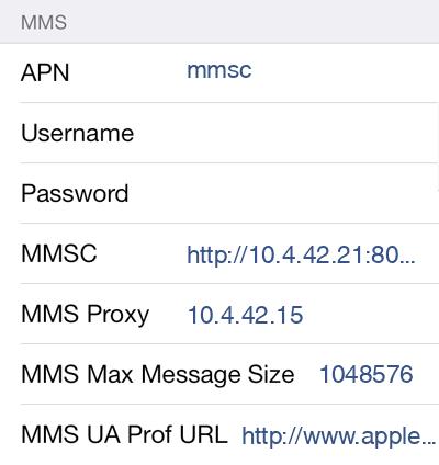 Idea Cellular MMS APN settings for iOS8 screenshot