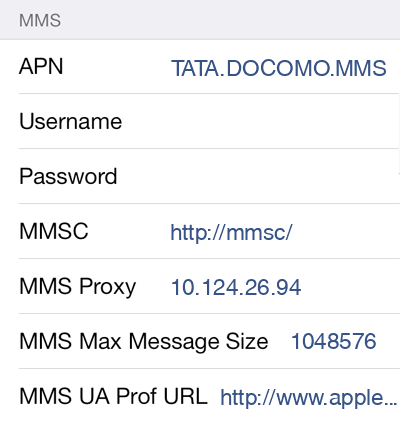Tata DoCoMo MMS APN settings for iOS8 screenshot
