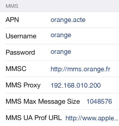 Orange MMS APN settings for iOS9 screenshot