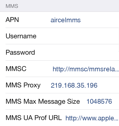 Aircel MMS APN settings for iOS8 screenshot