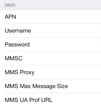 Virgin Mobile MMS APN settings for iOS8 screenshot