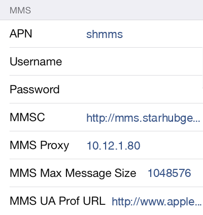 Starhub MMS APN settings for iOS8 screenshot
