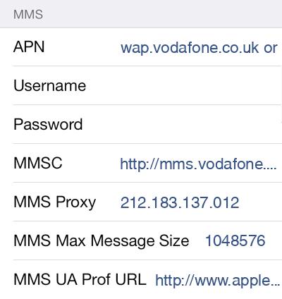 Vodafone  APN settings for iOS9 screenshot