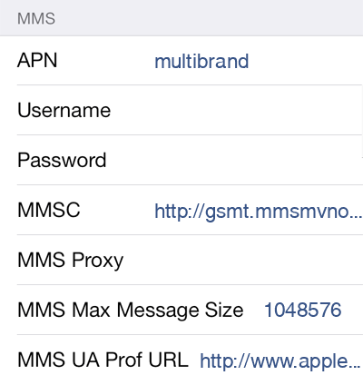 GoSmart Mobile  APN settings for iOS8 screenshot