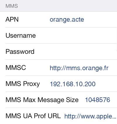 Sosh MMS APN settings for iOS8 screenshot