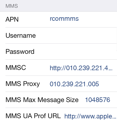 Reliance MMS APN settings for iOS8 screenshot