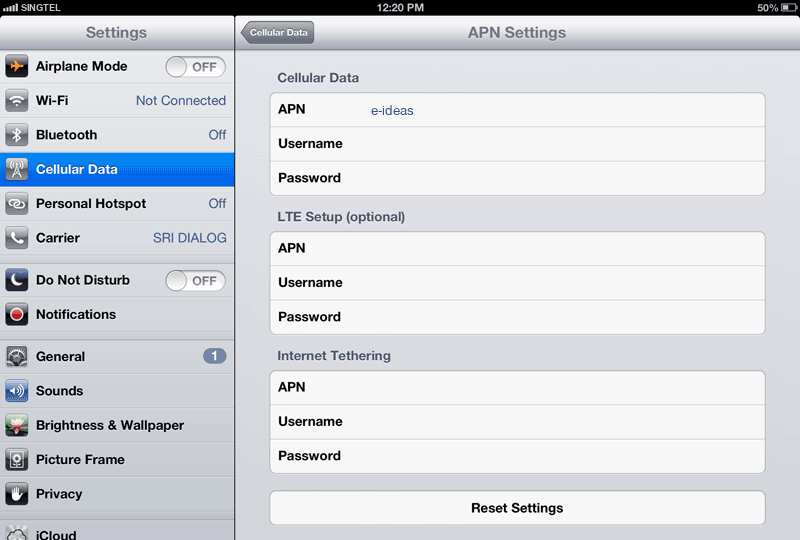 Singtel  APN settings for iPad screenshot