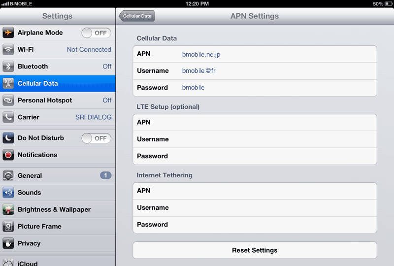 B-Mobile  Internet APN settings for iPad screenshot
