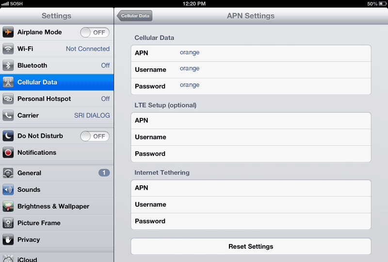 Sosh Internet APN settings for iPad screenshot
