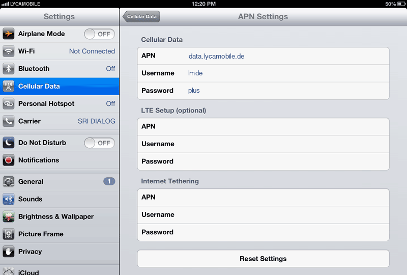 LycaMobile Internet APN settings for iPad screenshot
