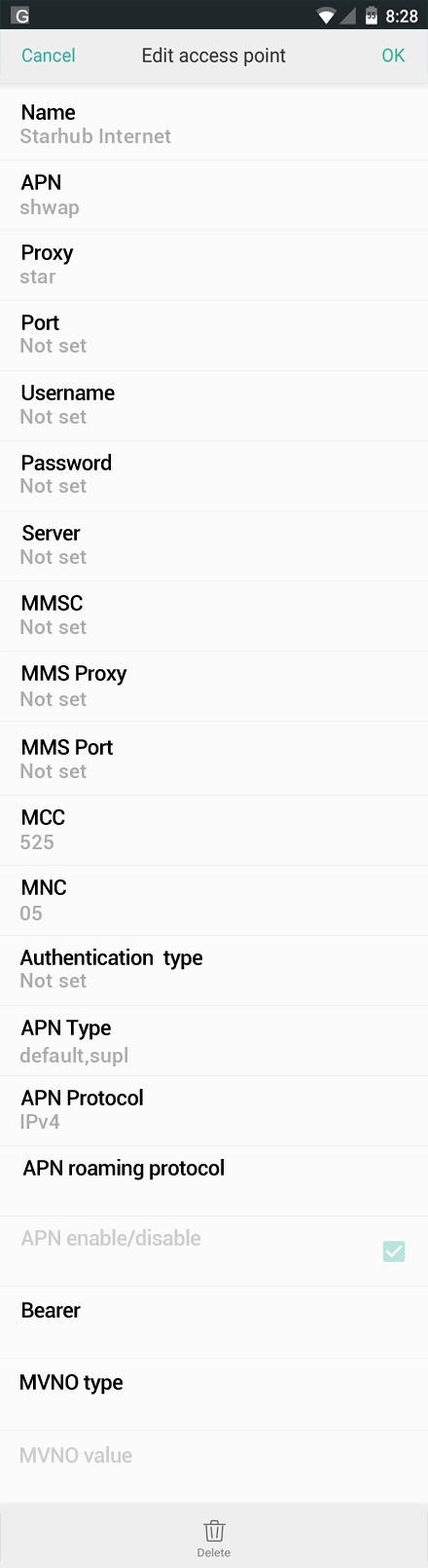 Starhub Internet APN settings for Oppo screenshot