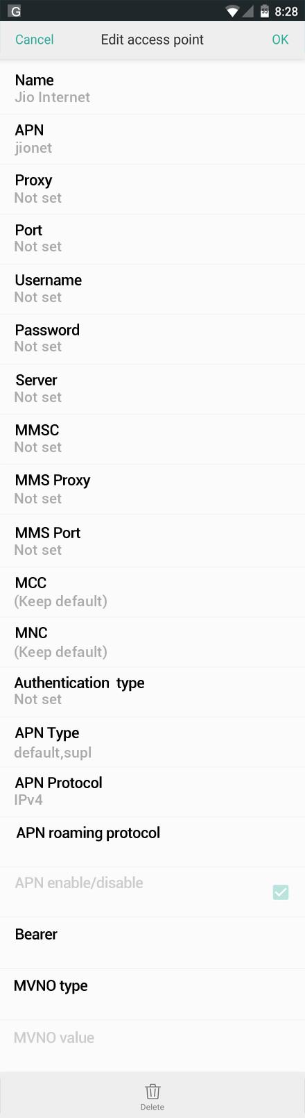 Jio Internet APN settings for Oppo screenshot